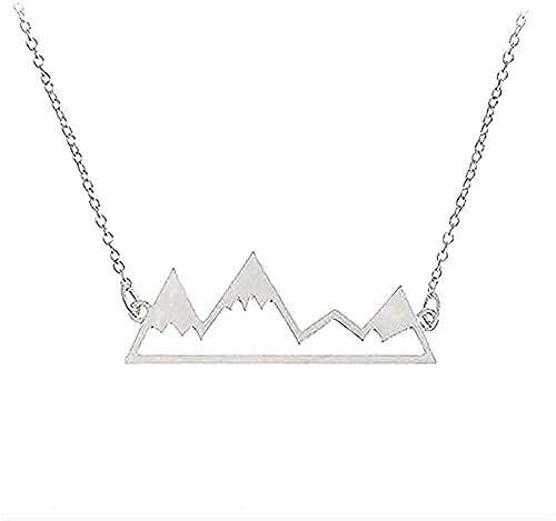 YOUZYHG co.,ltd Collar Collar de montaña Collar de Mapa del Mundo joyería de la Cordillera Naturaleza Excursionista Amantes de la Escalada Regalos joyería Minimalista