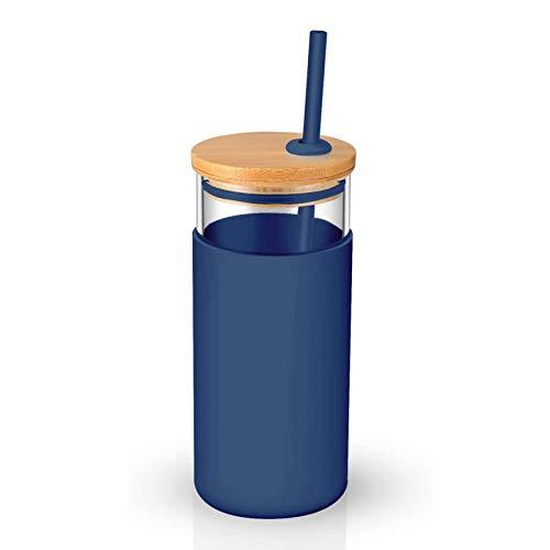 Clenp Botella De Vidrio, 20 Oz Vaso De Pared Simple Funda Protectora Tapa De Madera Vaso De Vidrio con Pajita Azul Talla única