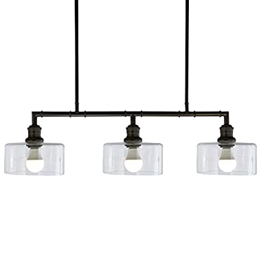 Stone & Beam Black Industrial Chandelier, 22 H, Glass Shades
