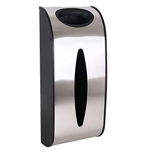 Acan Confortime - Dispensador de Bolsas de 39.3 x 16,5 x 9 cm con Apartado para Guantes con Soporte para Pared. Surtidor de Pared para Sacos de plástico de Acero válido para hogar o Trabajo