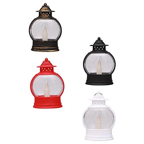 Happyyami 4 Piezas de Lámparas de Halloween Lámparas LED de Vela Eléctrica Lámparas Colgantes de Noche Lámparas de Escritorio Decoraciones para Halloween Hogar Jardín