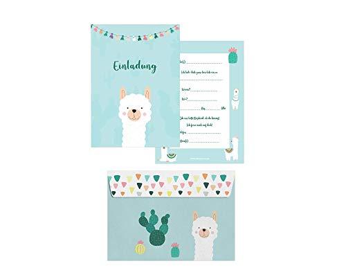 Friendly Fox Lama Einladung - 12 Einladungskarten Lama zum Kindergeburtstag Jungen Mädchen - Einladungskarten Kindergeburtstag - Lama Party - Alpaka