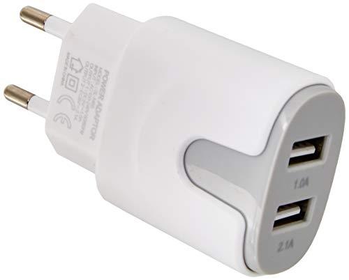 Shot Case Adattatore di Rete USB per ASUS Zenfone Max PRO, Smartphone, Tablet, Doppia Presa a Muro, 2 Porte di Corrente, Colore: Grigio