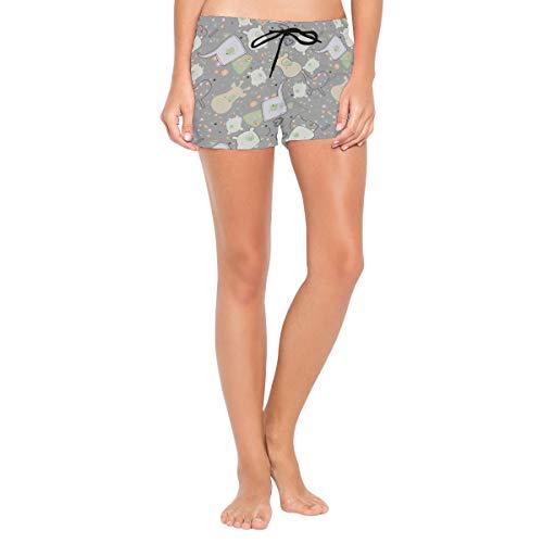 FANTAZIO Abstrakte Elefant Giraffe und Nilpferd Damen Strandhose Board Short mit integriertem Futter Gr. Medium, 1