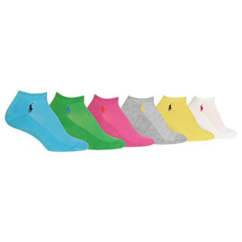 Ralph Lauren Women's 6-Pack Cushion Sole Mesh Top Low Cut Sock, Assorted 6, 9-11