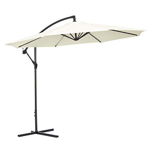 Outsunny Sombrilla Reclinable de Jardín o Patio Parasol para Exterior Blanco Acero y Tela de Poliéster 180g/㎡ Φ3 x 2.6m (Diámetro x Alto)