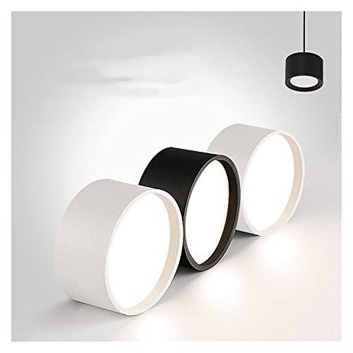 CZLSD. Downlight LED rotondo montato superficie nero bianco SMD5730 15W 18W 20W 25W Plafing Lamp Spotlight AC 110V 220V per illuminazione indoor (Body Color : Black)