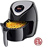 COSTWAY-US VD-23050PE Costway Electric Air Fryer, 3.2 Qt.1400W Healthy Oil Free Cooking, Touch Screen with Timer Temperature Control, 12.5 x 9.5 x 13 in, black