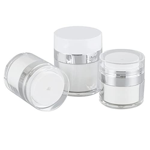 PIXNOR 3 Unidades de Frascos de Crema sin Aire Botellas de Crema de Maquillaje Recargables Botella de Base Al Vacío Frascos de Muestra de Doble Capa Cosméticos Botellas de Bomba de Aire