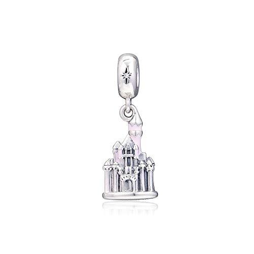 Diy 925 Pandora Colgante De Abalorios De Plata Esterlina Encantos De La Joyería Original Pink Castle Beads Se Adapta A La Fabricación De Joyas De Pulsera