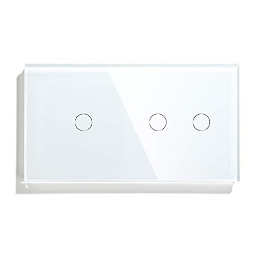 BSEED Interruptor Táctil doble Panel de vidrio de 1 Gang 2 Vía con 2 Gang 2 Vía Interruptor de luz de pared de 157 * 86 mm Blanco