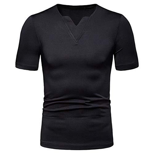 Camisa Polo Hombre Camiseta Básica Ajustada Hombre Camiseta Casual con Cuello En V Tapeta Hombre Manga Corta Color Sólido Camisa Deportiva Clásica Verano Hombre Tshirt E-Black2 L