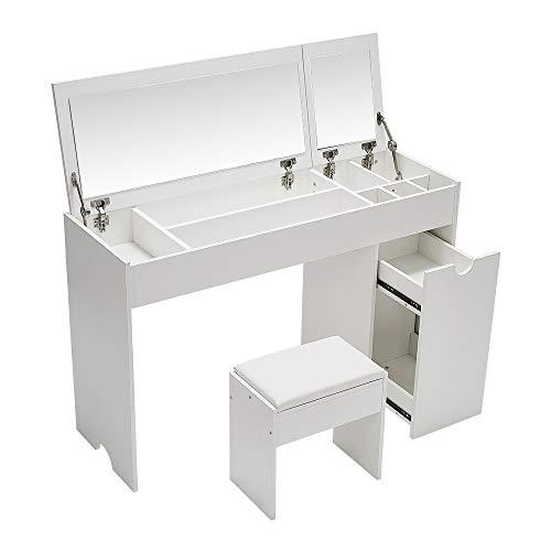 Wealthgirl Mesa de tocador 2 en 1 con espejo superior abatible, mesa de maquillaje con cajones, organizador de maquillaje, fácil montaje