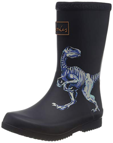 Joules Boy's Rain Boot, Navy Raptor, 4 Big Kid
