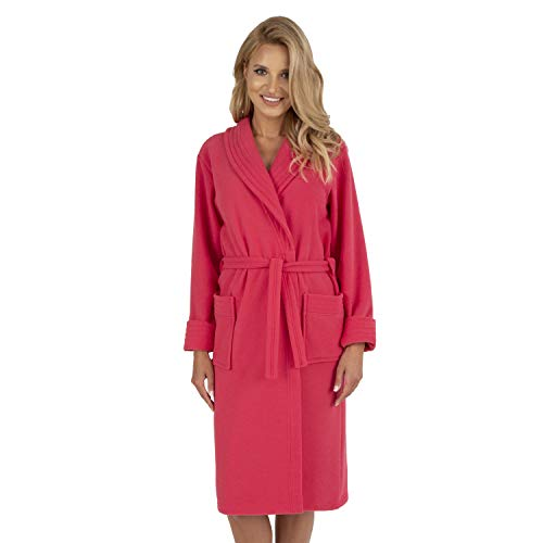 Vivisence Dame Bademantel Nachtwäsche Kragen Taschen Langarm 5015 Robe, In EU Hergestellt, Pink,XL