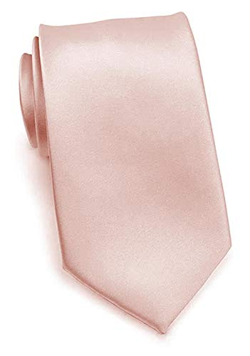 PUCCINI Uni Krawatte, Tie, Binder, Herren-/Hochzeitskrawatten, Schlips, Plastron │ 8.5cm schmal-slim │ einfarbig-unifarbig: Lachsfarben