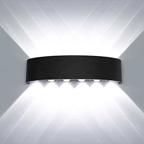 HAWEE Modern Wasserdicht Wandlampe LED Wandleuchte Up Down Aluminium Wandbeleuchtung Innen Außen für Badezimmer Treppen Veranda Flur Schlafzimmer Korridor Wohnzimmer, 12W Weiß