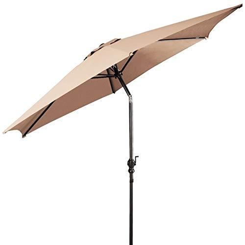 GUOZ Sombrilla Parasol de para Terraza Parasol Metal con Manivela 270 cm Protector Solar UV50+ para Exterior Fe-Al Market Table Toldo con Parasol Impermeable para Exterior, jardín y Patio,2