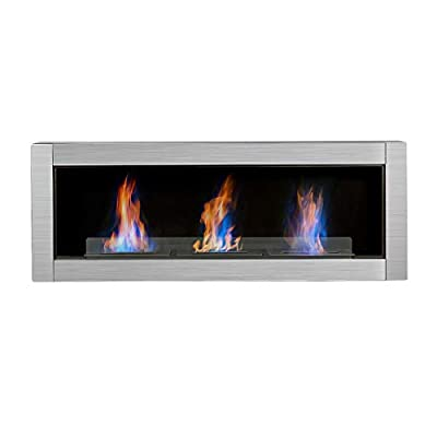 R.W.FLAME Ethanol Fireplace, Wall Mounted & Recessed Bio Ethanol Fireplace Heater, Ventless