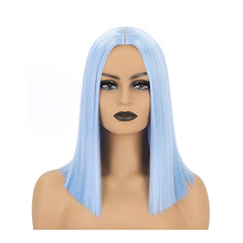 Newluyang Light Blue Short Bob Wig Pastel Synthetic Straight Hair Wigs Middle Part Shoulder Length 14Inch Colorful Wigs for Women and Girls Cosplay Party Halloween