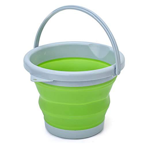 DLD Faltbarer Silikoneimer 10 l Reinigungseimer Silikon Eimer für Reinigung Camping Angeln Küche 5 Liter Haushaltseimer in Beere, Grün, 5 l 10 l grün