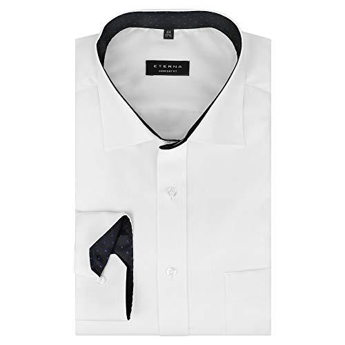 eterna Herren Hemd Langarm Comfort Fit New Kent Kragen bügelfrei knitterfrei in Weiß (45)