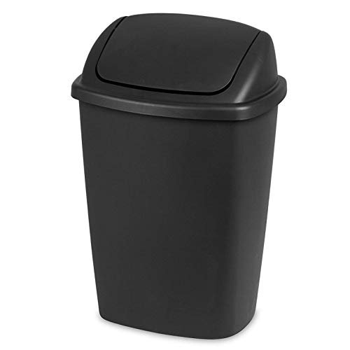 Sterilite 10689006 7.5-Gallon Swing-Top Wastebasket Trash Can, Black (6 Pack)