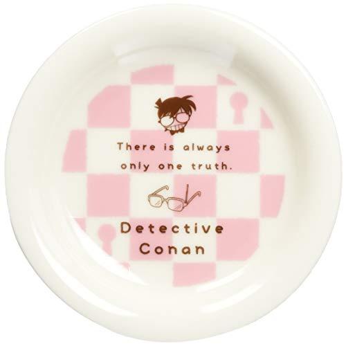 「 名探偵コナン 」 ブロック チェック柄 ミニプレート 皿 直径11.5cm ピンク×白 024137