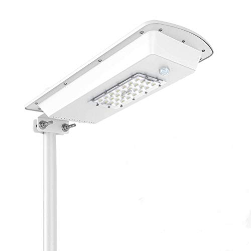 10W Solar Street Light Outdoor Commercial Dusk to Dawn Super Bright Area Lighting LED Security Lamp Solar Powered Street Lights Waterproof IP65 with Motion Sensor Perfect for Garden Yard Path Building