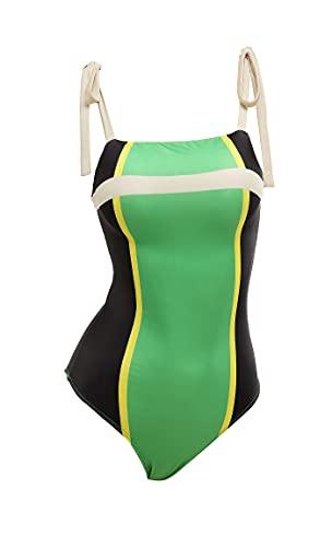 Haikyuu Womens One Piece Swimsuit Anime Style Bathing Suit Japanese Cartoon Swimwear (Large, Green, l)