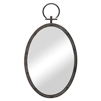 Stonebriar Oval Rustic Bronze Metal Mirror with Rivet Detail & Hanging Ring for Wall, Industrial Home Décor