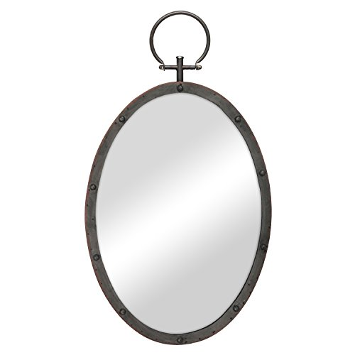 Stonebriar Oval Rustic Bronze Metal Mirror with Rivet Detail & Hanging Ring -