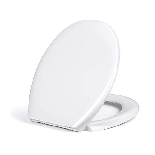 Amzdeal Tapa de wc, Tapa de inodoro con cierre suave y lenta, Asiento de inodoro de Duroplástico de alta calidad, Tapa de asiento de wc con sencilla instalación, Tapas de wc en forma de O,blanco