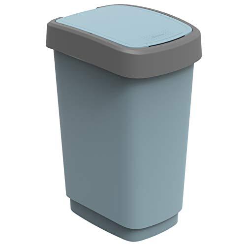 Rotho Eco Twist vuilnisbak 25 l, kunststof (PP), blauw, 25 liter (33,3 x 25,2 x 47,6 cm)