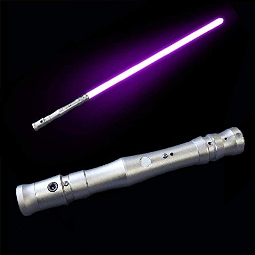 zzj Sable de luz para niños, juguete luminoso con mango de metal, efecto de sonido, espada láser, mango plateado, luz morada