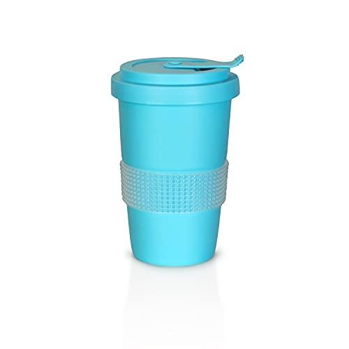 Mahlwerck Kaffeebecher to go, Porzellan Coffee-to-go Becher, mit Deckel, 400 ml, matt ice blau