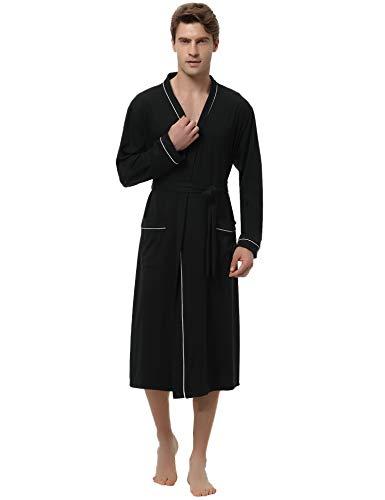 Aibrou Herren Lange Leicht Baumwolle Bademantel Einfarbiges Morgenmantel mit Gürtel Schwarz XL