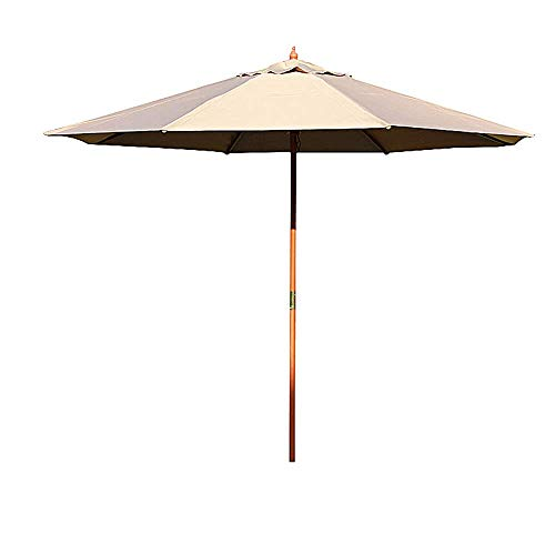 Zixin Patio Paraguas 2.7m Jardín (Individual Superior/Doble Superior) Impermeable Sombra Paraguas Dos Modelos for la Playa/Piscina/Patio/balcón/Patio (Color : Khaki, Size : Wooden Shade)