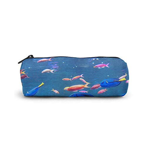 IOPLK Kulturbeutel runde Federmäppchen Kosmetiktasche Federmäppchen CCDMJ Tropical Coconut Flamingo Pen Pencil Case Bag Holder Zipper Organizer Students Stationery Bags Makeup Brush Pouch for Kids Gir
