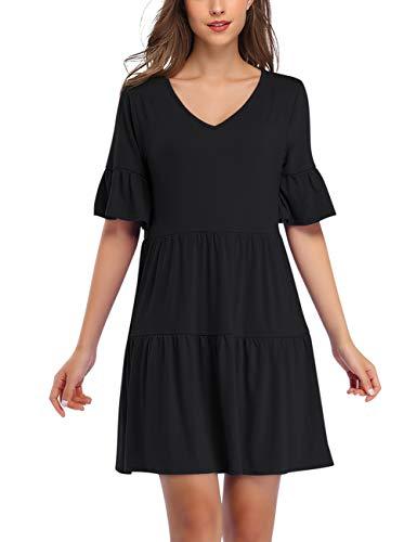 KOJOOIN Tunika Kleid Boho Bohemian Kleid Vintage Kleid Lose Casual Swing Kleid mit Gerafft Schmeichelhaft Schwarz-kurzarm S