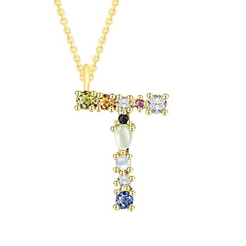 CHENLING 925 plata de ley 26 letras collar para las mujeres diamante colgante marca oro collar colorido cristal circón B F joyería regalo