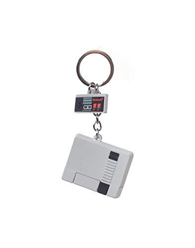 Nintendo Nes 3d Console & Controller Keychain, Unisex-Erwachsene Schlüsselanhänger, Grau (Grey), 5x16x6 cm (W x H L)