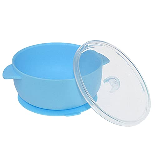 KU Syang Blau Silikon Baby Napf mit Deckel 100% Silikon Ohne Bpa Ungiftiges Material für UnabhhNgige ErnnHrung Feed