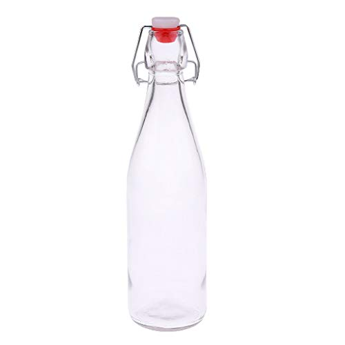 Swing Top Easy Cap Botella de cerveza de vidrio Taza de agua Botella de jugo 250ml -1000ml - Transparente, 500ml