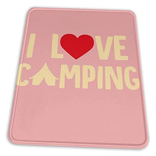 I Love Camping Mauspad Rutschfeste Gummiunterlage für Office Gaming Computer mit genähter Kante