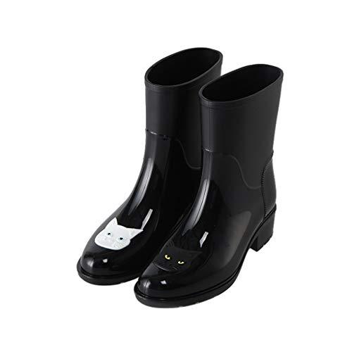 GDSSX Lluvia de la Moda del patrón del Gato de Las Mujeres Botas de Lluvia Botas Zapatos Antideslizantes Impermeables Jardín Outdoor (Color : Black, Size : 37)