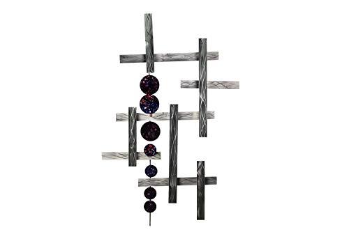 Kunstloft® Extravagante Escultura Pared Metal 'Ambición por la Suerte' 70x109x6cm | Decoración XXL Metal Arte | Rayas líneas círculos Abstracto Negro Plateado | Hecho a Mano Imagen Mural Moderno