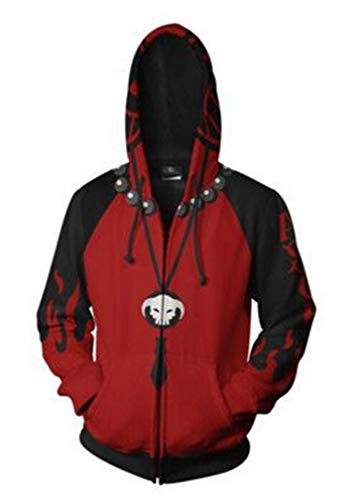 AMOMA Hombres Mujeres Unisex Anime One Piece Zip Hoodie Cremallera Cosplay Luffy Ace Sudadera con Capucha(2XL,CosplayACE)