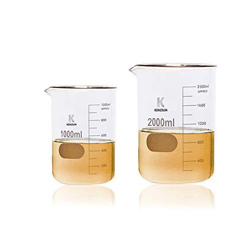 KENZIUM - Pack 2 x Vasos de Precipitados, 2 Medidas: 1000 ml...
