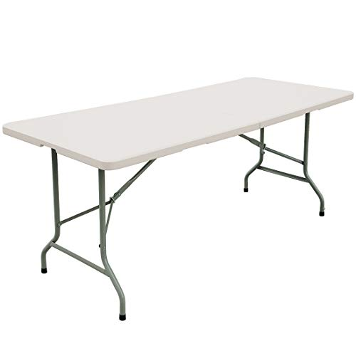 FORUP 6ft Table Folding Utility Table FoldinHalf Portable Plastic Picnic Party Dining Camp Table White